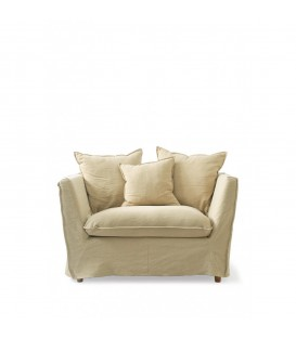 Riviera Maison - Oyster Pond Love Seat, washed linen, flax