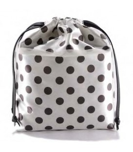 HYMY Bag POCHETTE Satin - Black Dots Pois Nero